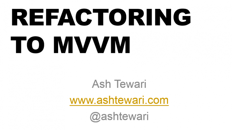 refactoring-to-mvvm